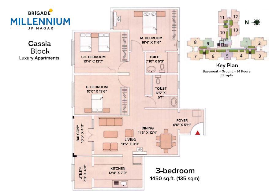 brigade millennium cassia apartment 3bhk 1450sqft 20201626161614