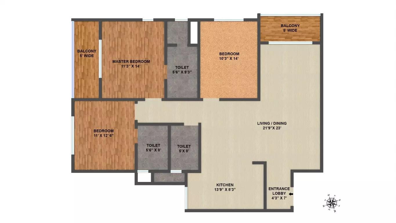 brigade northridge apartment 3bhk 1760sqft111