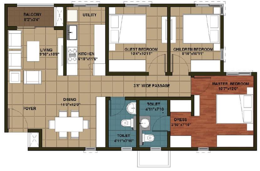brigade orchards luxury apartments apartment 3bhk 893sqft 1