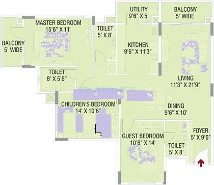 brigade paramount apartment 3bhk 1720sqft1