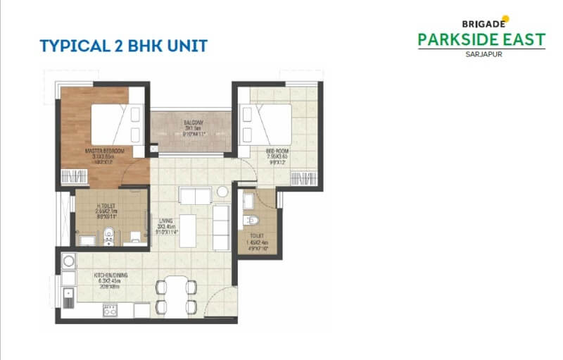 2 Bhk 1144 Sq Ft Apartment For Sale In Brigade Parkside East At Rs 63 00 L Bangalore