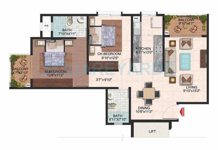 brigade plumeria apartment 2bhk 1120sqft 1