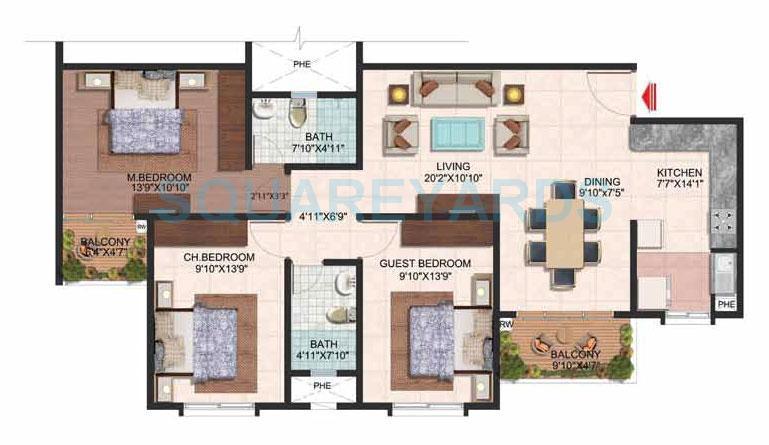 brigade plumeria apartment 3bhk 1430sqft 1