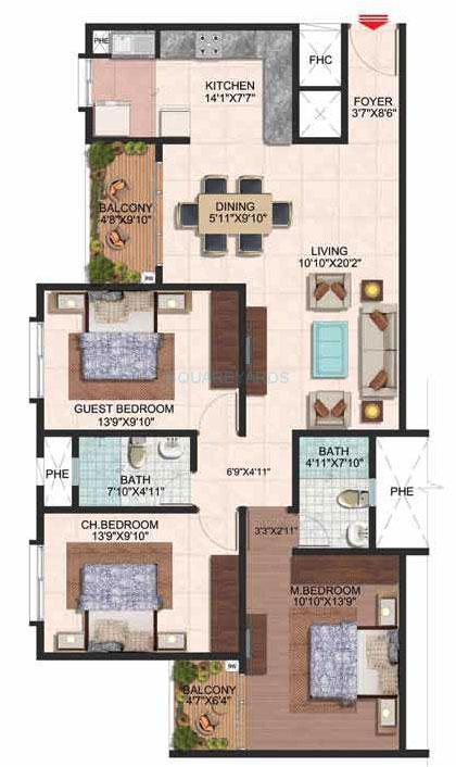 brigade plumeria apartment 3bhk 1450sqft 1