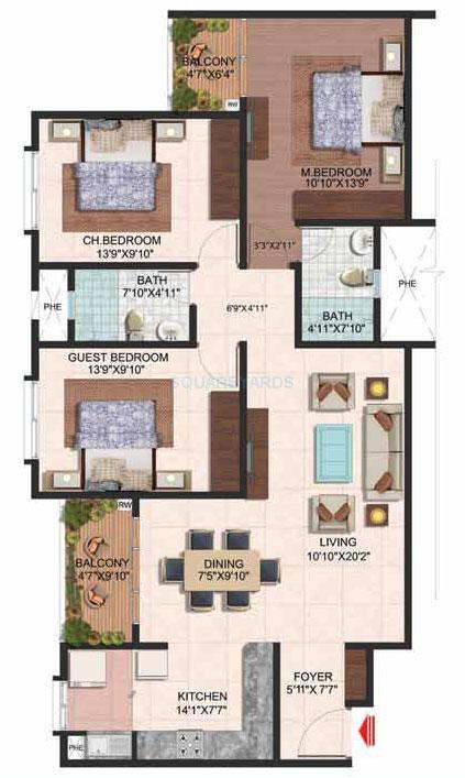 brigade plumeria apartment 3bhk 1480sqft 1