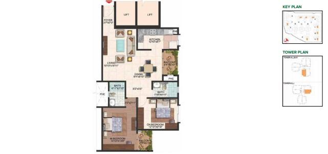 brigade plumeria lifestyle apartment 2bhk 1190sqft111
