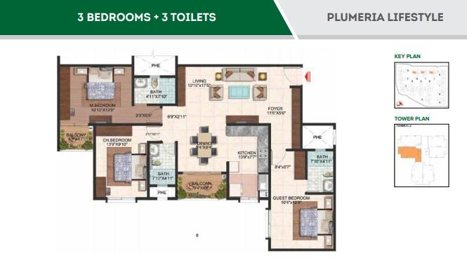 brigade plumeria lifestyle apartment 3bhk 1630sqft111
