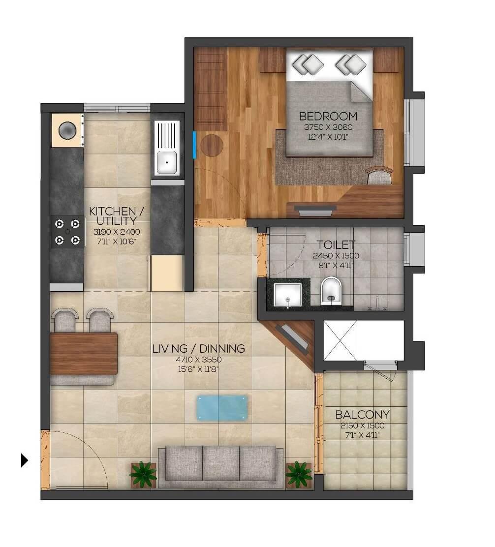 brigade utopia apartment 1bhk 451sqft 1