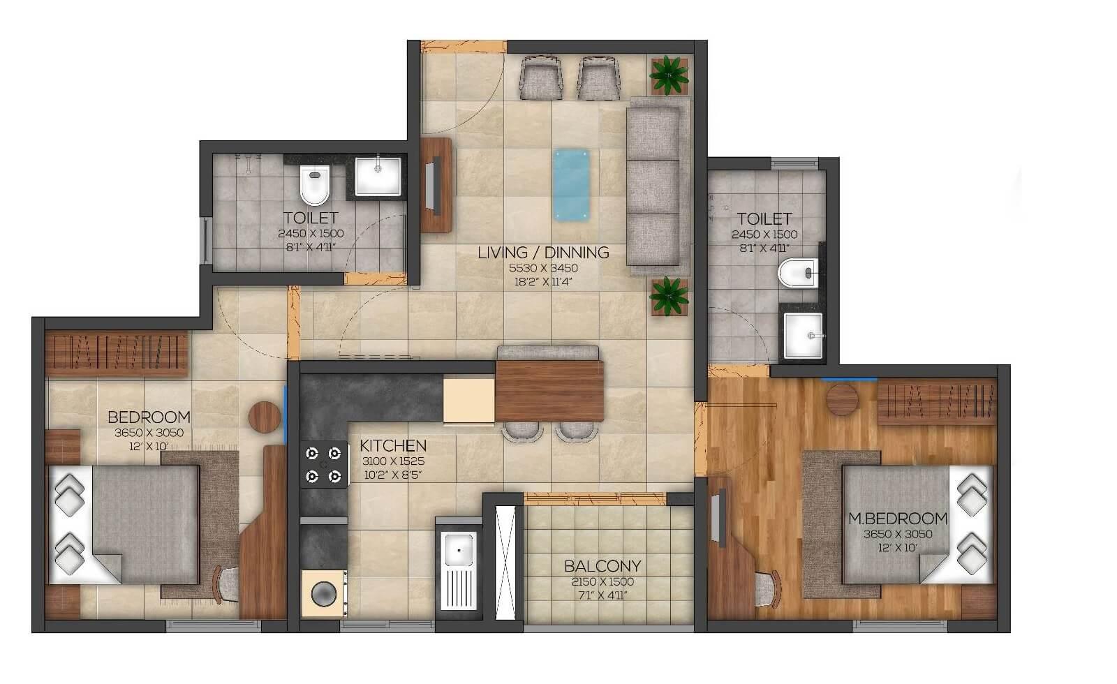 brigade utopia apartment 2bhk 664sqft 1
