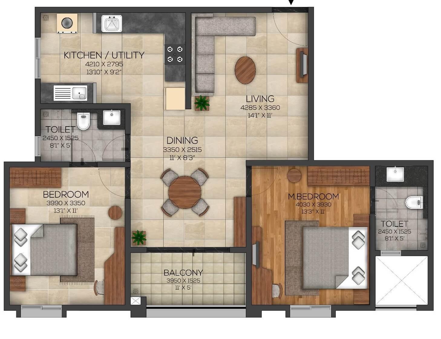 brigade utopia apartment 2bhk 803sqft 1