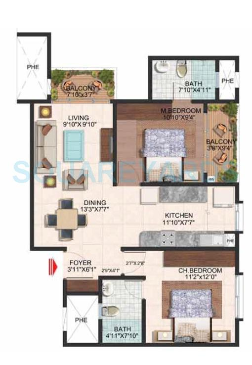 brigade wisteria at brigade meadows apartment 2bhk 1010sqft1