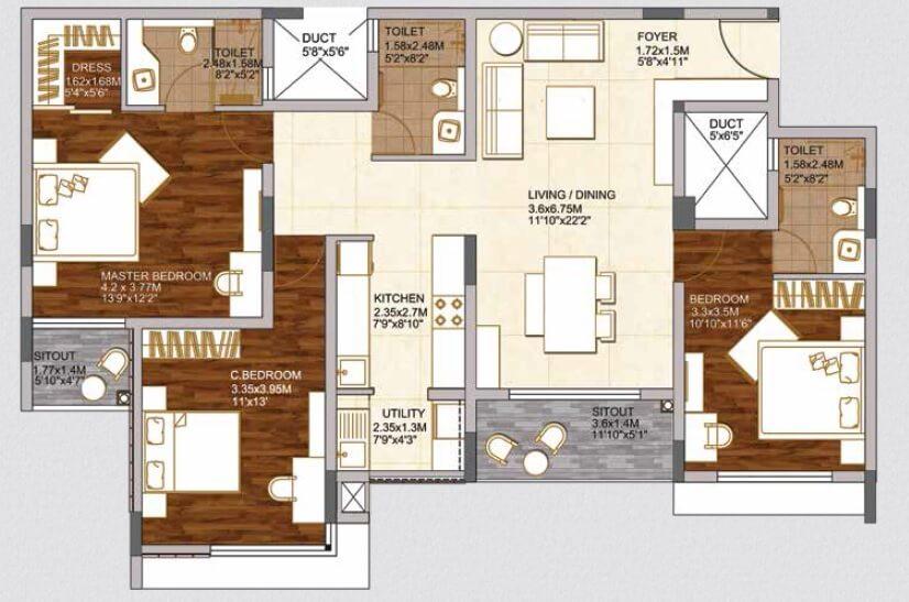 brigade woods apartment 3bhk 1146sqft 1