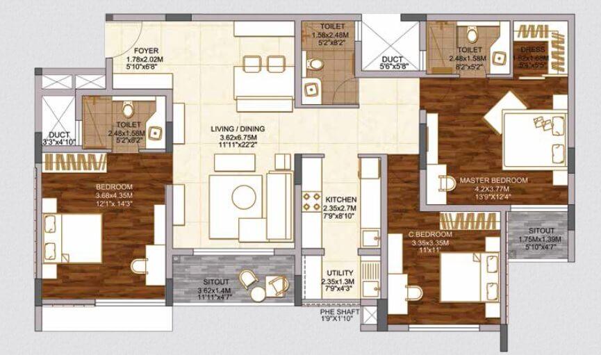 brigade woods apartment 3bhk 1175sqft 1