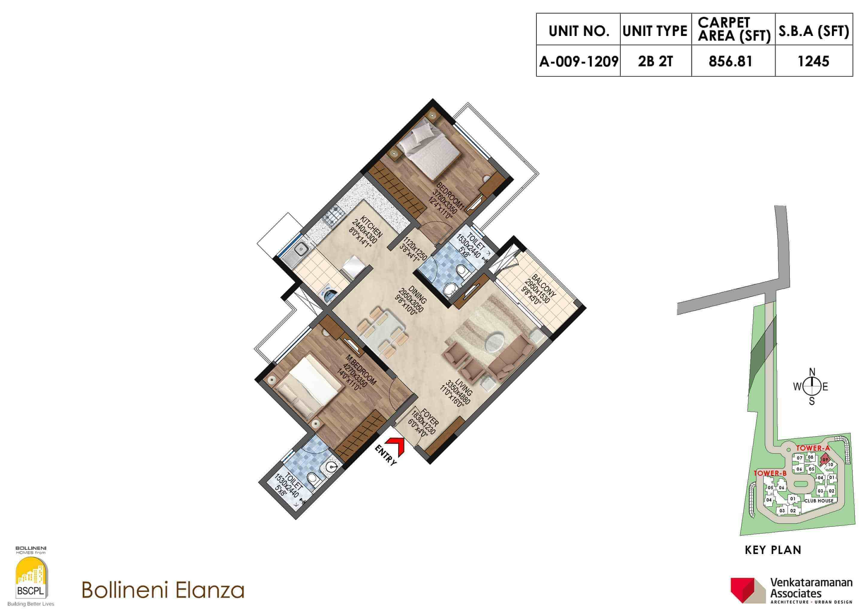 bscpl bollineni elanza apartment 2bhk 1245sqft 1