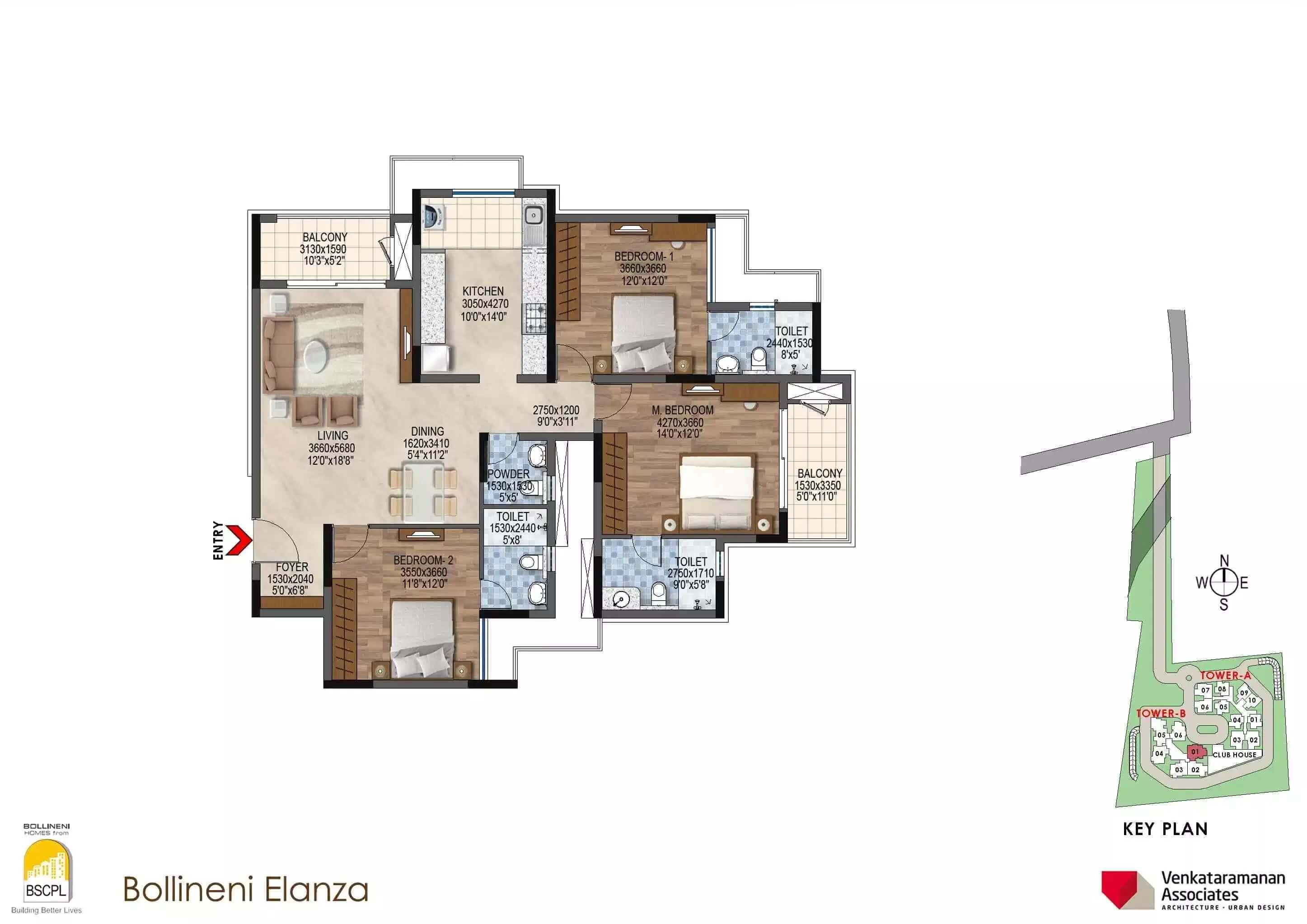bscpl bollineni elanza apartment 3bhk 1780sqft 1
