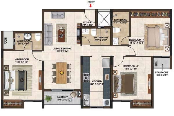 casagrand lorenza apartment 3bhk 1674sqft 1