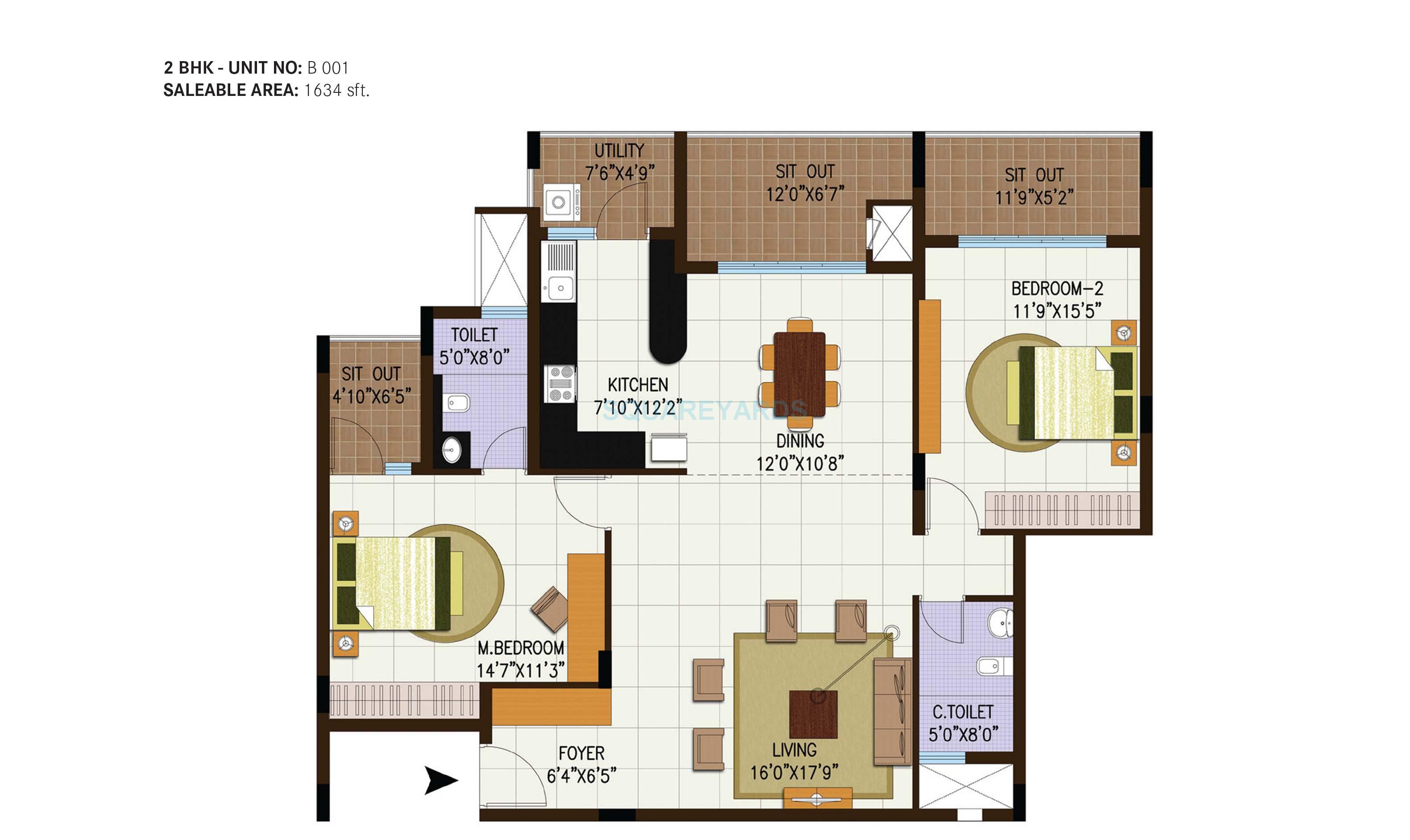 century central apartment 2bhk 1634sqft1