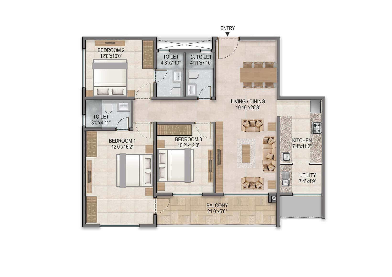 century horizon apartment 3bhk 1365sqft51
