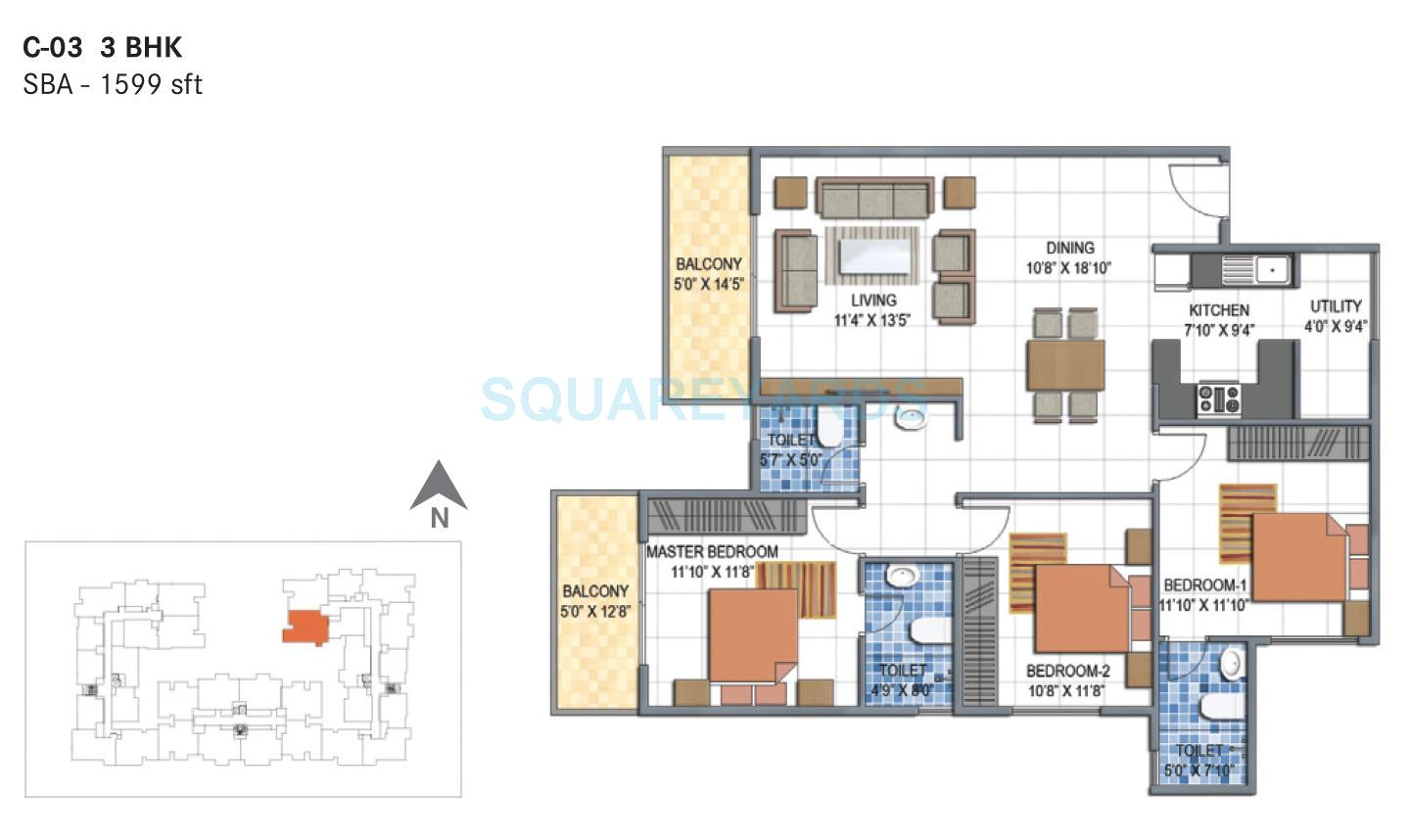 3 BHK 1599 Sq. Ft. Apartment for Sale in Century Saras at Rs 5294.0 ...