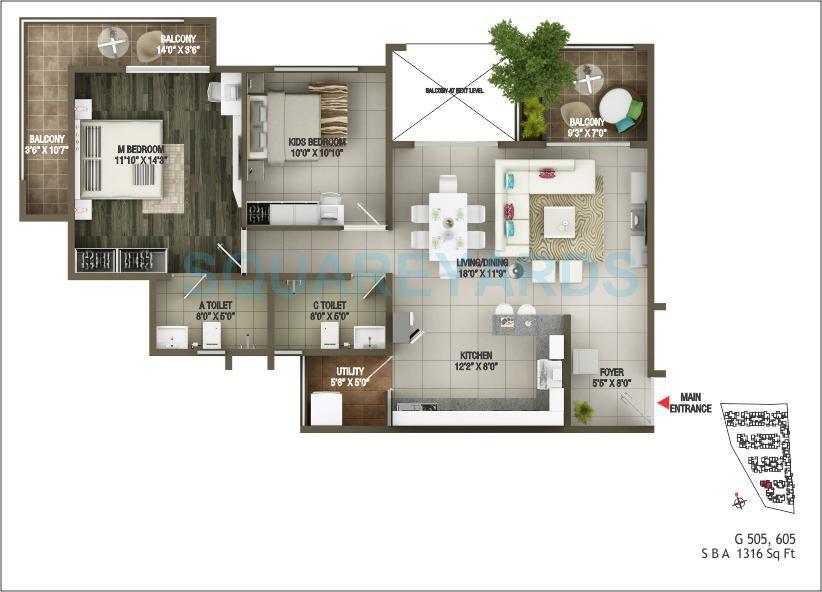 concorde epitome apartment 3bhk 1316sqft 1