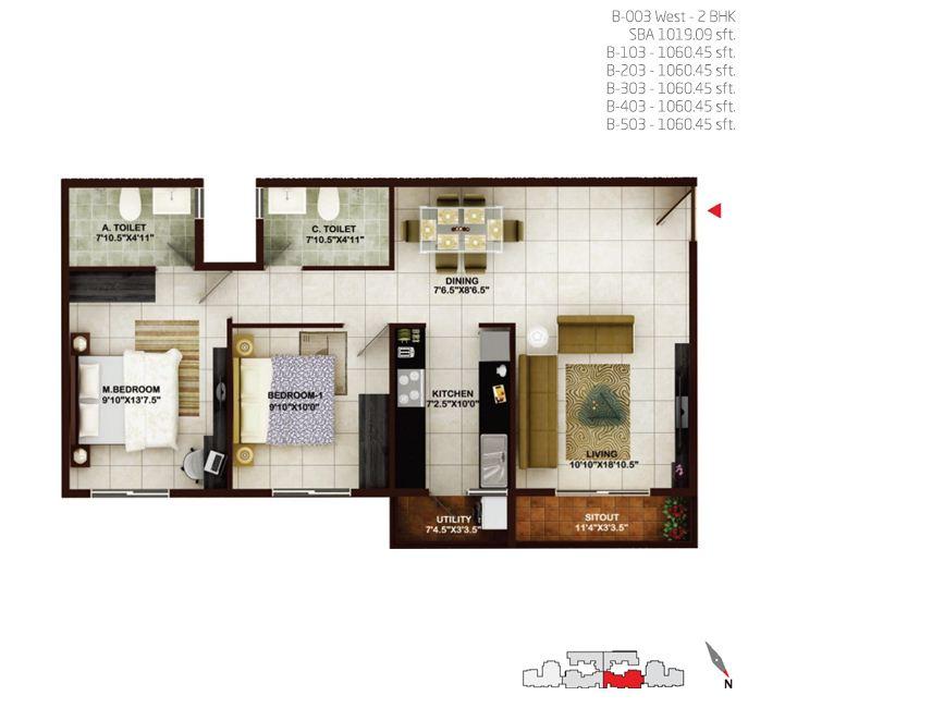 concorde tech turf apartment 2bhk 1019sqft1