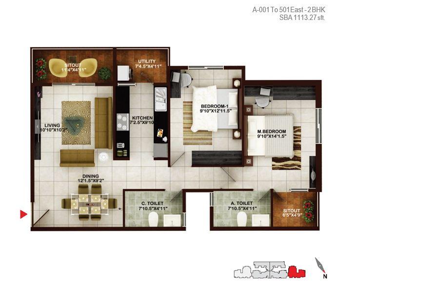 concorde tech turf apartment 2bhk 1113sqft1
