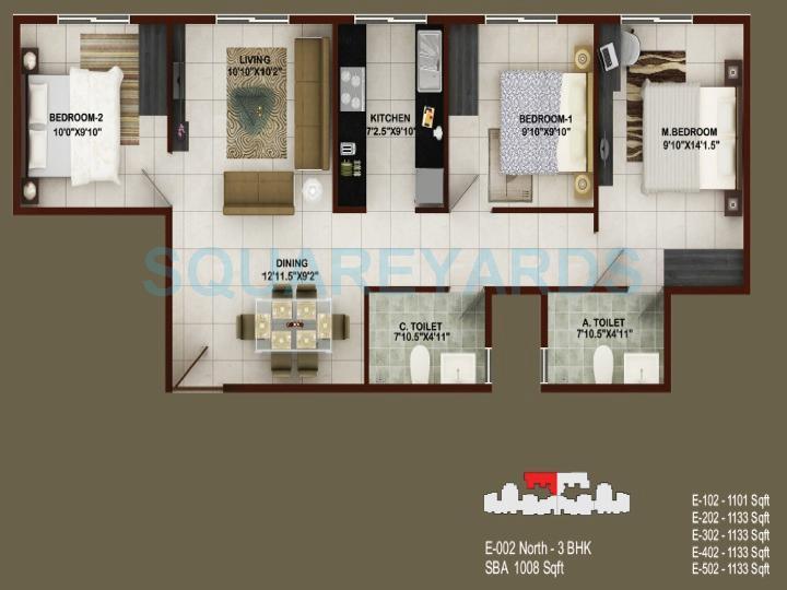 concorde tech turf apartment 3bhk 1008sqft1