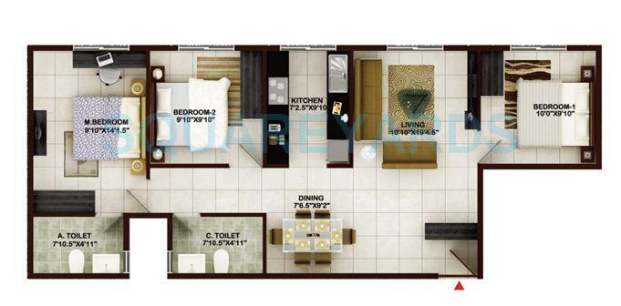 concorde tech turf apartment 3bhk 1283sqft1