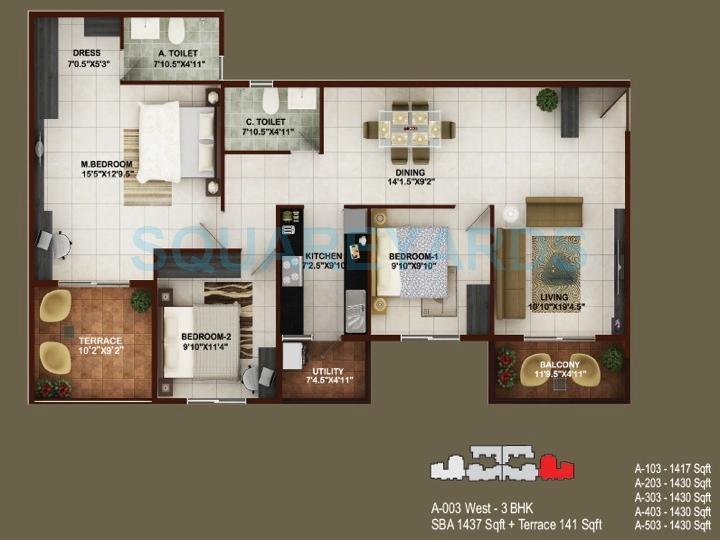 concorde tech turf apartment 3bhk 1437sqft1