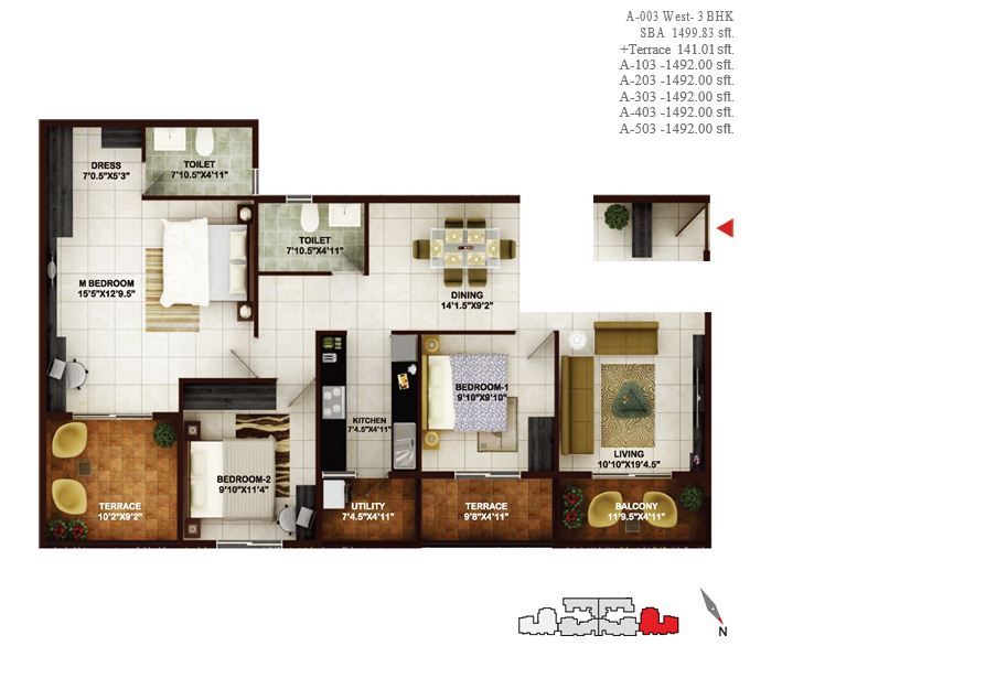 concorde tech turf apartment 3bhk 1499sqft1