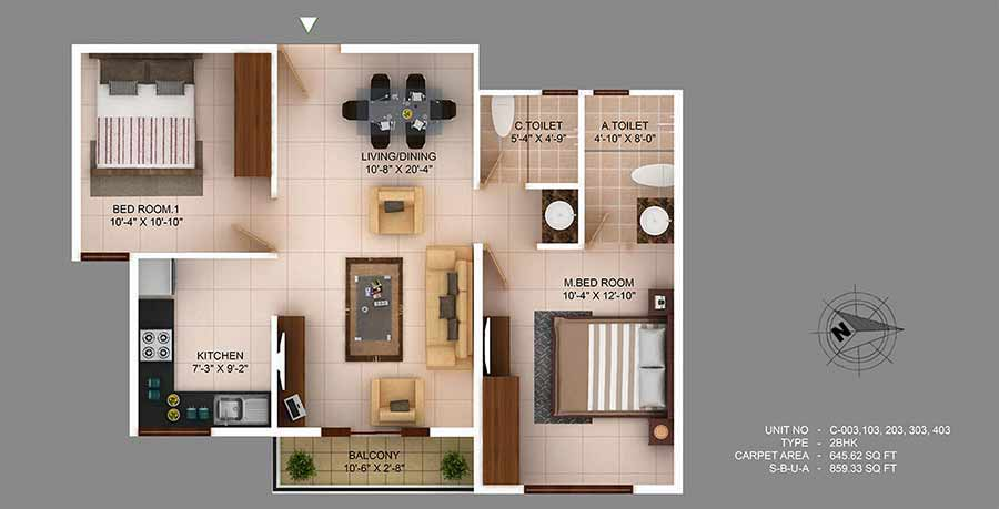 concorde wind rush apartment 2bhk 859sqft1