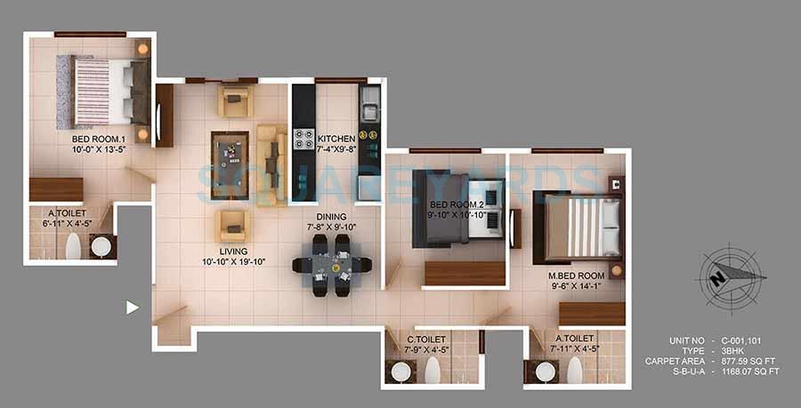 concorde wind rush apartment 3bhk 1160sqft 1