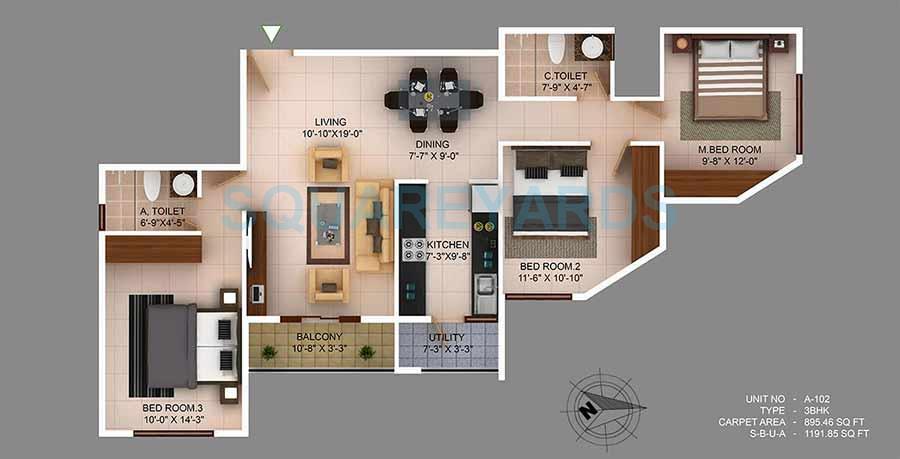 concorde wind rush apartment 3bhk 1192sqft 1