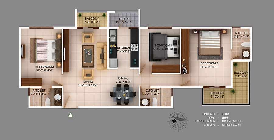 concorde wind rush apartment 3bhk 1239sqft1