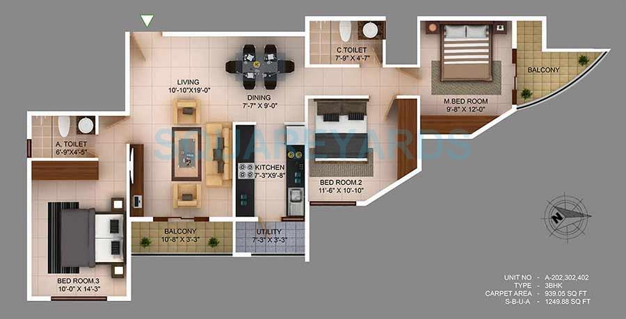 concorde wind rush apartment 3bhk 1249sqft1