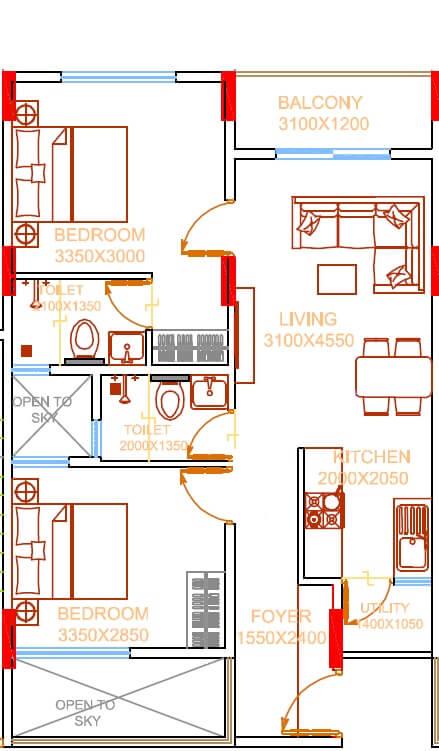 damden vivo apartment 2bhk 858sqft 1