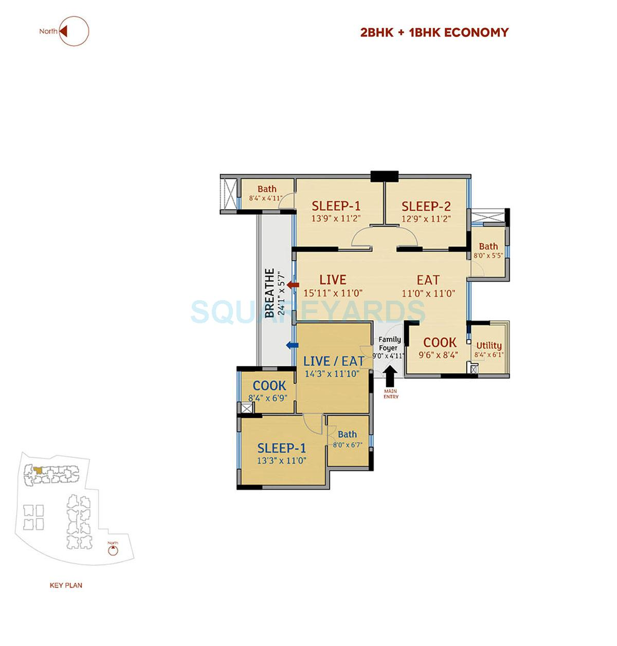 divya sree 77 degree place apartment 2bhk 1976sqft 1