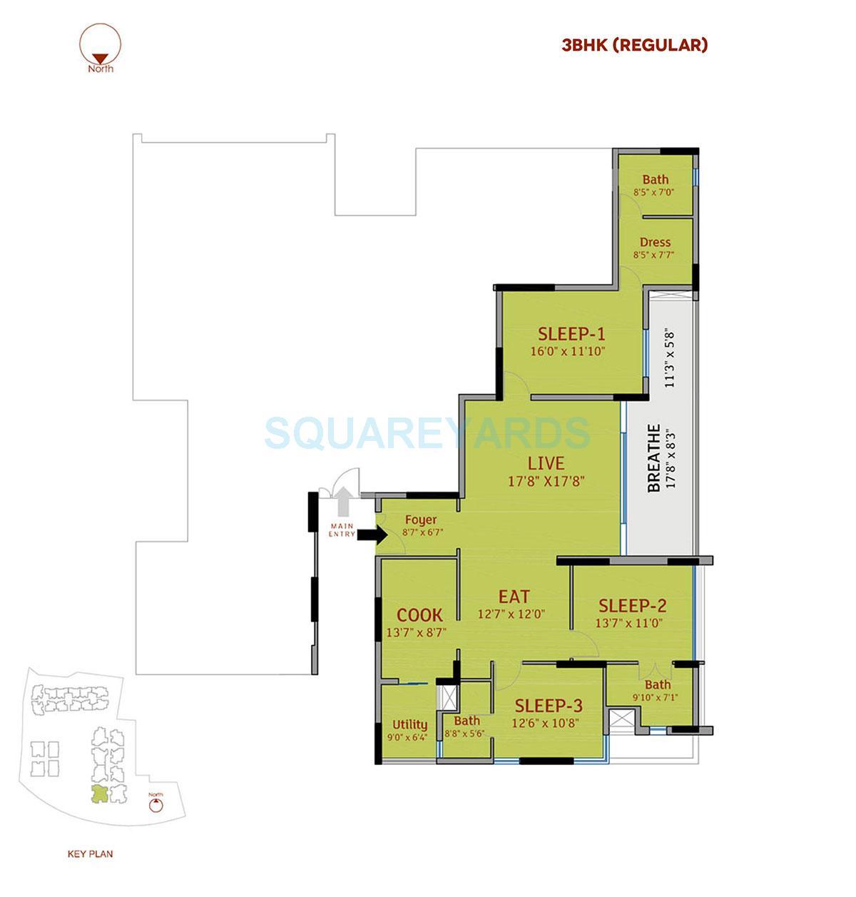 divya sree 77 degree place apartment 3bhk 2349sqft 1