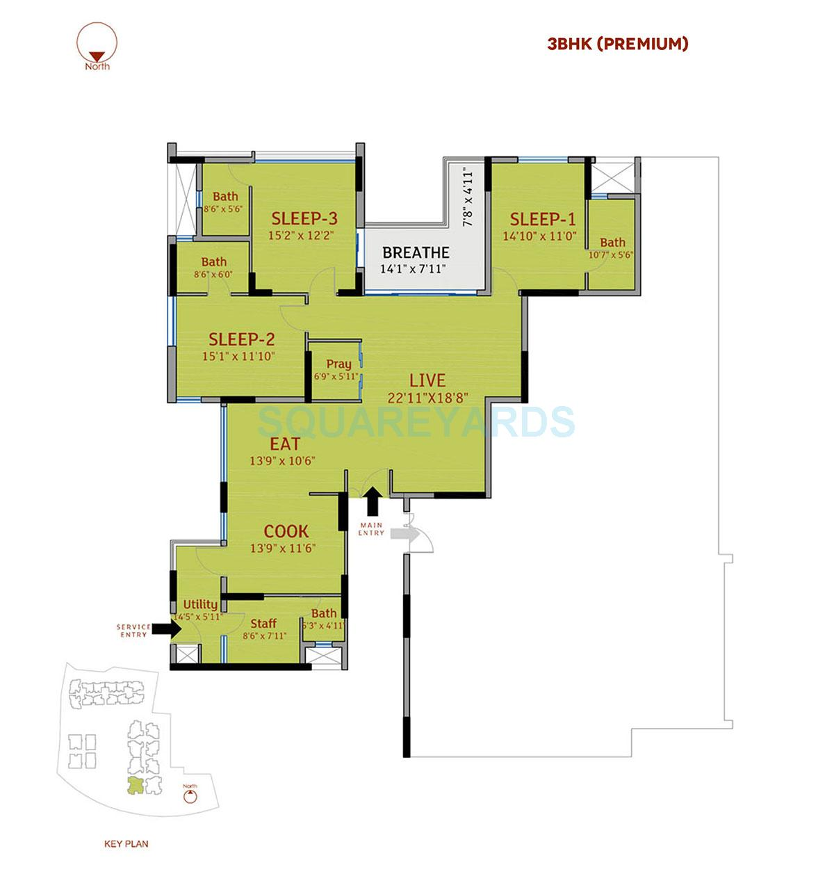 divya sree 77 degree place apartment 3bhk 2555sqft 1