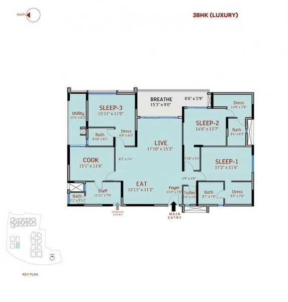 3 Bhk 1857 Sq Ft Apartment For Sale In Divyasree 77 Place At Rs 9590 Sq Ft Bangalore