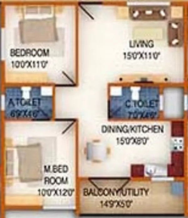 ds max silver wood apartment 2bhk 1058sqft61