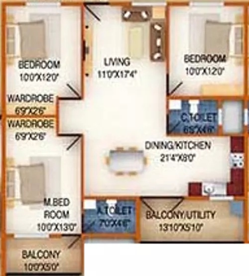 ds max silver wood apartment 3bhk 1495sqft51