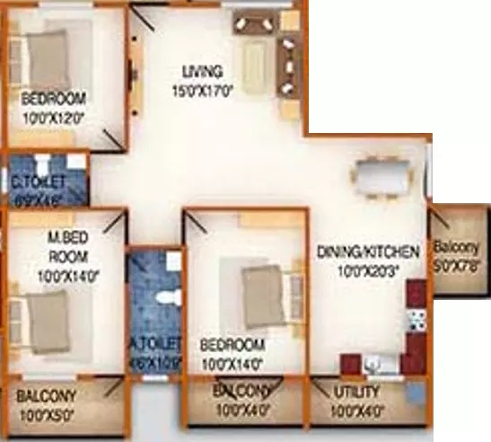 ds max silver wood apartment 3bhk 1745sqft61