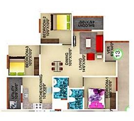 ds max starry apartment 3 bhk 1088sqft 20203320103355