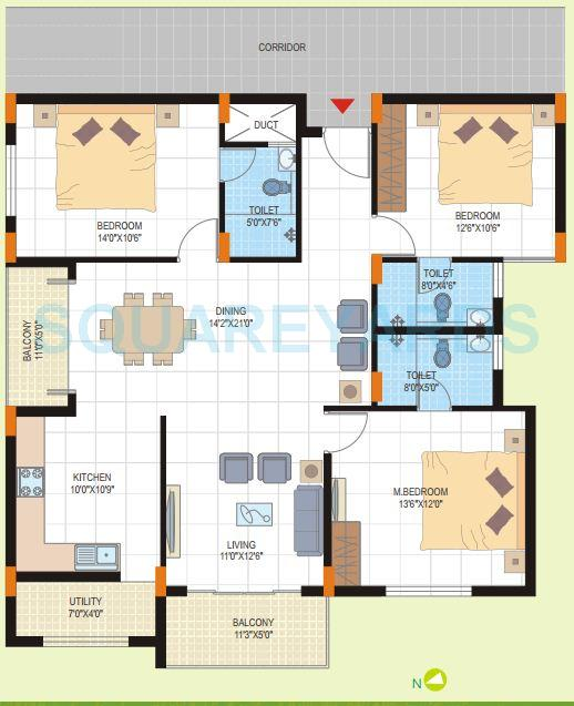 dsr green field apartment 3bhk 1444sqft1