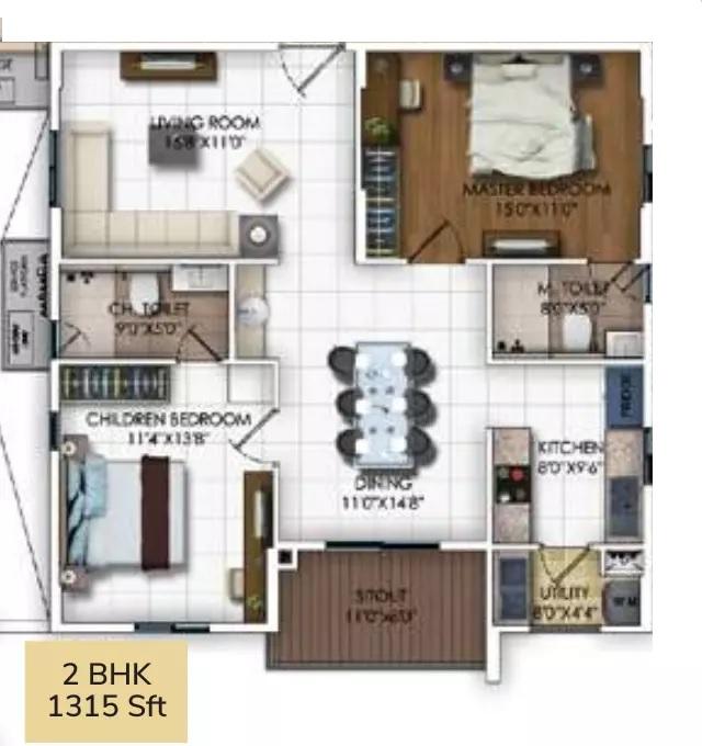 dsr rr avenues apartment 2bhk 1315sqft41