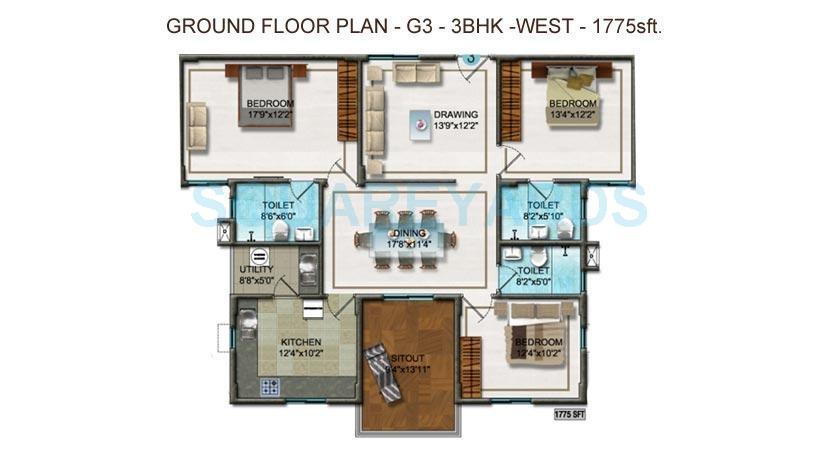 dsr ultima apartment 3bhk 1775sqft1