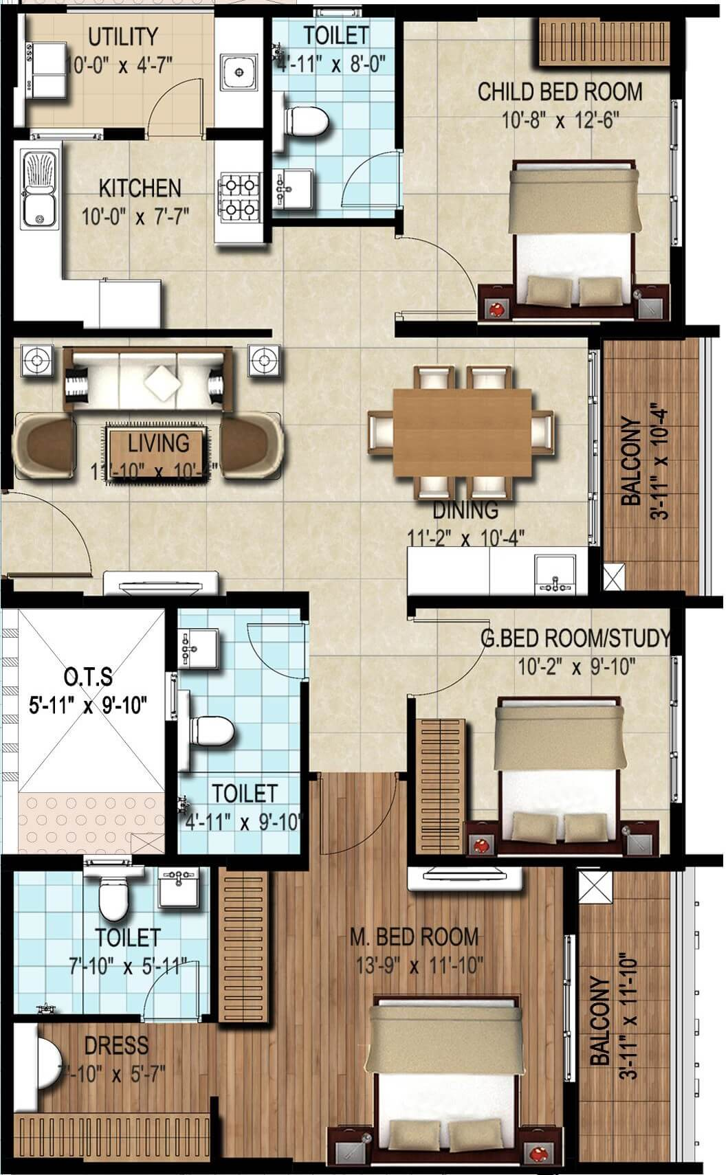 dsr waterscape apartment 2bhk st 1523sqft 1