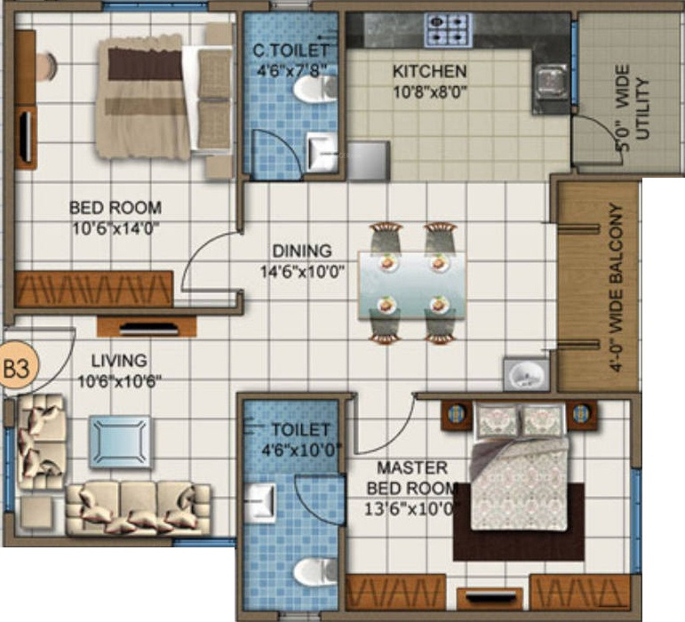 dsr white waters apartment 2bhk 1057sqft131