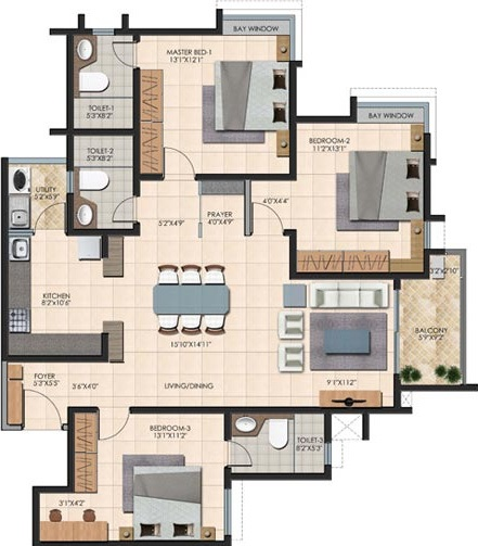 durga petals apartment 3bhk 1671sqft101